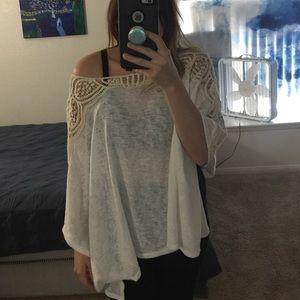 white lace shoulder poncho